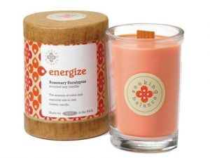 6. Root Scented Seeking Balance Energize Candle With Rosemary and Eucalyptus