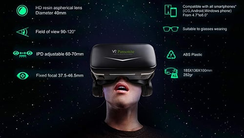 Anti-Blue Light Eye Protected HD Virtual Reality Headset for iPhone for Samsung Phones w//4.7-6.8in Screen VR Carrying Case for Oculus Quest//Oculus Go DESTEK V5 VR Headset w//Bluetooth Controller