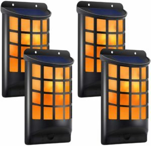 TomCare Solar Lights Waterproof Flickering Flames Wall
